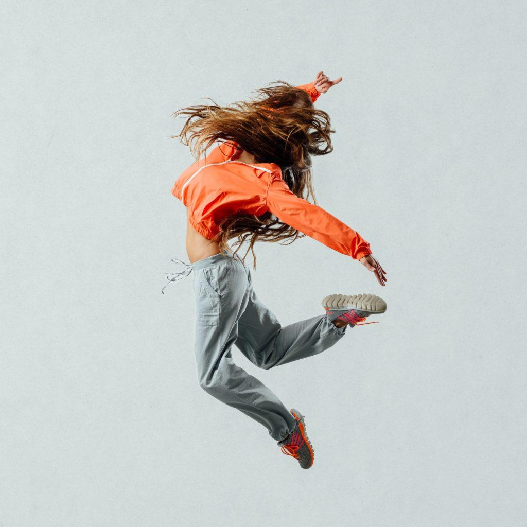 Modern style dancer jumping